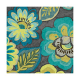 Floral Assortment Teal on Dark Grey Crop II Prints by Hugo Wild