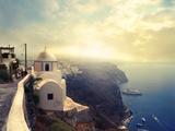 Panorama on Santorini Island Print by  olly2