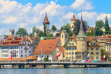 Lucerne City View with River Reuss, Switzerland Prints by  Zechal