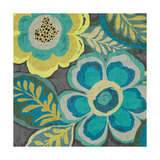 Floral Assortment Teal on Dark Grey Crop III Posters by Hugo Wild