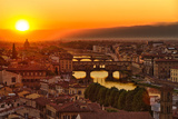 Florence Arno River and Ponte Vecchio at Sunset, Italy Photographic Print by  fisfra