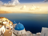 Church on Santorini Island at Sunset Photographic Print by  olly2