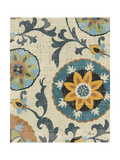 Persian Patchwork Blue Brown Tile I Poster by Jess Aiken