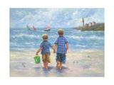 Two Little Beach Boys Walking Prints by Vickie Wade