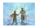 Two Little Boys Going Fishing Art by Vickie Wade