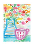 Tea and Flowers III Poster von Linda Woods