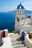 View of Caldera with Stairs and Belfry, Santorini Photographic Print by  neirfy