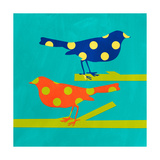 Navy and Orange Birds Giclee Print by Linda Woods