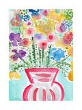 Red Vase of Flowers Kunst von Linda Woods