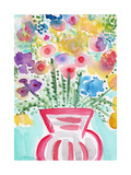 Red Vase of Flowers Giclee Print by Linda Woods