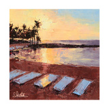 The Beach at Sunrise Póster por Leslie Saeta