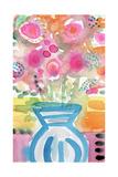 Blue Vase of Flowers Kunstdrucke von Linda Woods