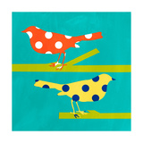 Orange and Yellow Bird Giclée-Druck von Linda Woods
