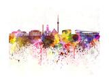 paulrommer - Stuttgart Skyline in Watercolor Background Umění