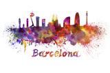 Barcelona Skyline in Watercolor Art by  paulrommer