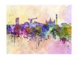 paulrommer - Glasgow Skyline in Watercolor Background Umění