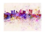 paulrommer - Rotterdam Skyline in Watercolor Background Umění