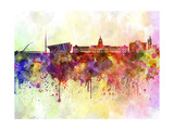 Dublin Skyline in Watercolor Background Print by  paulrommer
