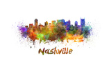 Nashville Skyline in Watercolor Poster by  paulrommer
