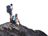 Two Hikers with Backpacks on Top of a Mountain Isolated on a White Prints by Dudarev Mikhail