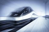 Train in Motion, Monochromatic Photographic Print by  rihardzz