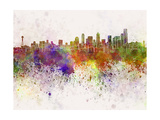 Seattle Skyline in Watercolor Background Prints by  paulrommer