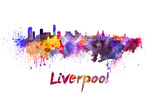 paulrommer - Liverpool Skyline in Watercolor - Reprodüksiyon