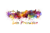San Francisco Skyline in Watercolor Print by  paulrommer