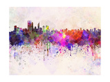 Perth Skyline in Watercolor Background Poster by  paulrommer