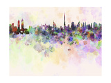 Dubai Skyline in Watercolor Background Poster by  paulrommer