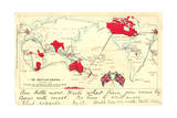 British Colonial Map - the British Empire 高画質プリント : Post Card