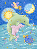 Dolphins at Play Art by Viv Eisner