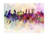 paulrommer - Madrid Skyline in Watercolor Background - Reprodüksiyon