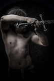 Naked Warrior Carrying Steel Sword Photographic Print by  outsiderzone