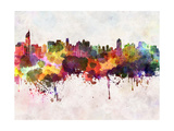Jakarta Skyline in Watercolor Background Prints by  paulrommer