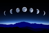 Moon Lunar Cycle in Night Sky, Time-Lapse Concept Photographic Print by  Kagenmi