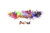 Dallas Skyline in Watercolor Prints by  paulrommer