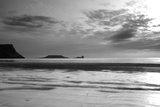 Monochrome Seascape, Rhossili, Gower, Wales. Poster by Swellphotography UK