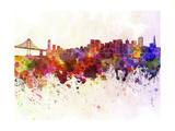 paulrommer - San Francisco Skyline in Watercolor Background - Reprodüksiyon
