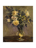 Yellow Roses In Glass Vase Photographic Print by Allayn Stevens