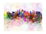 Kansas City Skyline in Watercolor Background Poster by  paulrommer