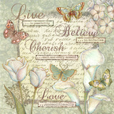Live, Believe, Cherish and Love Print by Viv Eisner