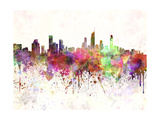 Gold Coast Skyline in Watercolor Background Art by  paulrommer