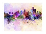 paulrommer - Detroit Skyline in Watercolor Background - Poster
