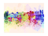 Brussels Skyline in Watercolor Background Prints by  paulrommer