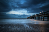 Twilight Dusk Landscape of Pier Stretching out into Sea with Moonlight Prints by  Veneratio