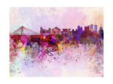 Warsaw Skyline in Watercolor Background Prints by  paulrommer