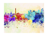 Buenos Aires Skyline in Watercolor Background Print by  paulrommer