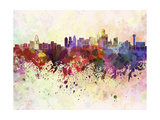 Dallas Skyline in Watercolor Background Prints by  paulrommer
