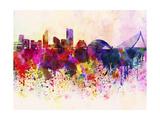 paulrommer - Valencia Skyline in Watercolor Background Obrazy